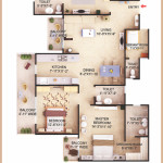 3 Bedroom + 4 Toilet + Servant (Type I) App. Super Area=1680 SQ. FT