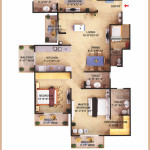 3 Bedroom + 4 Toilet + Servant (Type II) App. Super Area=1680 SQ. FT.